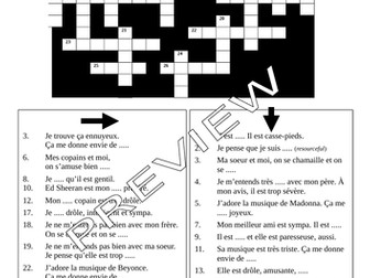 Mon Identité; Talking about Relationships; Talking about Music Crossword Plenary