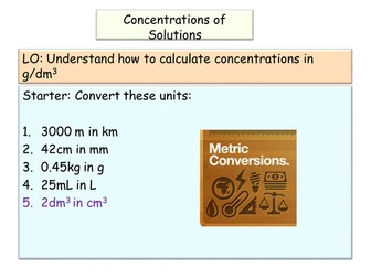 New AQA GCSE Chemistry Concentrations in g/dm3