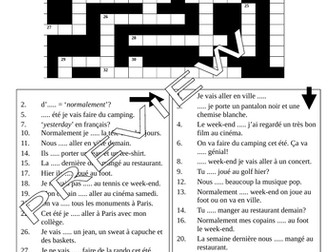 Module 3, Studio book 2; Crossword Puzzle to practise tenses