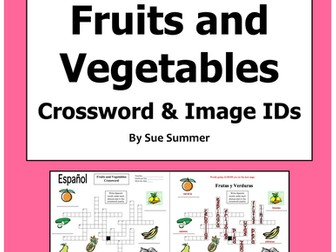 Spanish Food Fruits and Vegetables Crossword - La Comida, Las Frutas y Los Vegetales