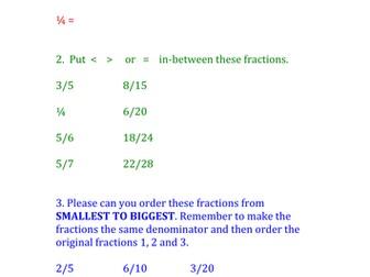 Maths homework fractions