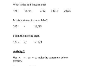 Compare and order fractions MASTERY