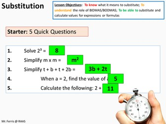 Algebra: Substitution into expressions and formula (US Version) + activity