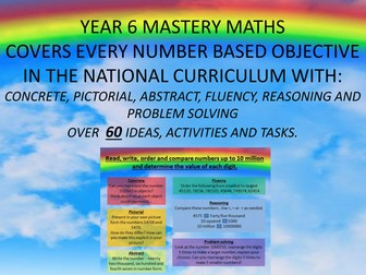 YEAR 6 MASTERY MATHS COVERS EVERY number based  OBJECTIVE