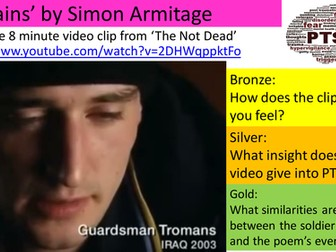 'Remains' annotations and comprehension questions based on the annotations. Simon Armitage