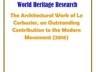 Germany: The Architectural Work of Le Corbusier, an Outstanding Contribution to the Modern Movement