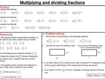 Multiplying and dividing fractions - mastery worksheet