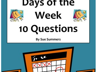 Spanish Calendar 10 Question Responses - Days of Week, Classes, Daily Activities