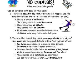 Spanish Calendar Days of the Week Reference - Días de la Semana