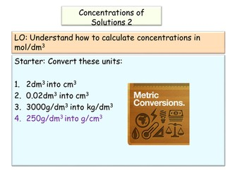 New AQA GCSE Chemistry Molar Concentrations and Titrations