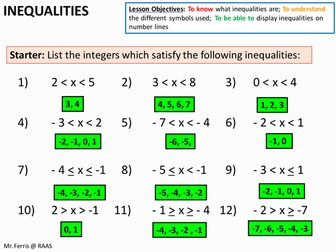 Algebra: Inequalities 1 - Writing in words and on a Number Line (US Version) + worksheet