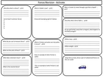 KS3 Forces Revision sheet for Activate Science
