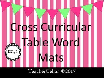 Cross Curricular Vocabulary Word Mats EYFS and KS1