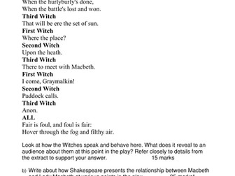 Eduqas Macbeth 15 extracts with questions