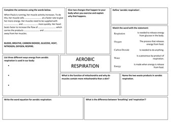 Aerobic Respiration Worksheet by takht005 - Teaching Resources - Tes