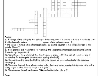 A Level Biology: Crossword Pack on the Cell Cycle and Cell Division