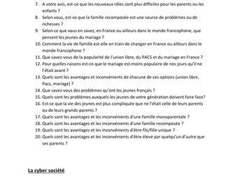 New AS French Speaking: questions for topics