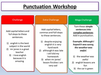 Descriptive  / Creative Writing - Punctuation