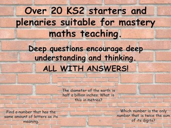 Over 20 KS2 starters and plenaries suitable for mastery maths teaching.