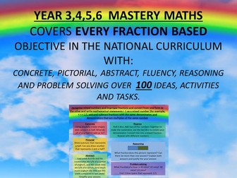 YEAR 3,4,5,6 MASTERY MATHS COVERS EVERY fraction  BASED OBJECTIVE