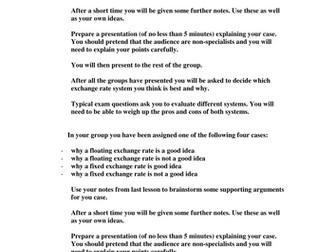 Fixed v Floating exchange rates group task