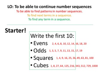 Sequences! Term to term, nth term and quadratic sequences!