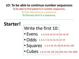 Sequences! Term to term, nth term and quadratic sequences!