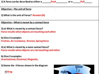 Forces Between Objects Homework