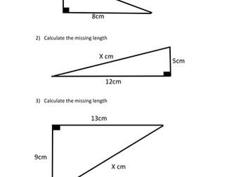 Differentiated Pythagoras Starter or Plenary