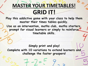 timestable game - grid it! Mastery maths multiplication