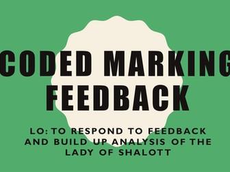 Lady of Shalott PEE analysis - coded marking