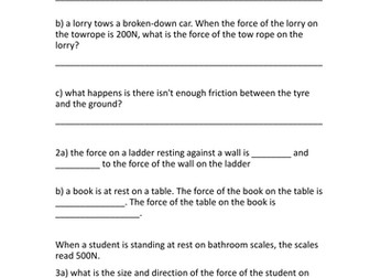 Forces act in pairs questions