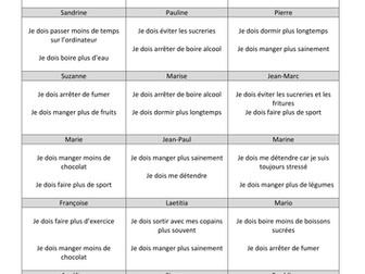 KS3/4 French - Find someone who with cards on healthy lifestyle