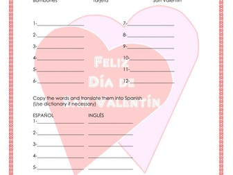 Saint Valentine´s Day- Día de San Valentin Worksheet booklet