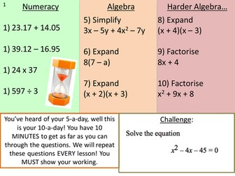 10 Question Revision Starters (with answers)