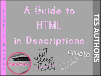 A guide to HTML in Descriptions by TESAuthors4Authors