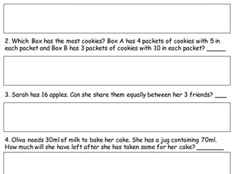 Year 2 Word problems- Objective from the interim assessment framework