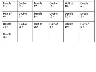 Year 2- Recall doubles and halves to 20- Objective from the interim framework