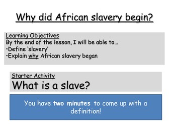Slavery and Slave Trade SOW and Assessment