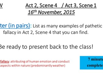 Macbeth - Act 2 Scene 4, Act 3 Scene 1