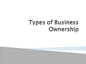 GCSE Business Studies OCR- Types of Business Ownership