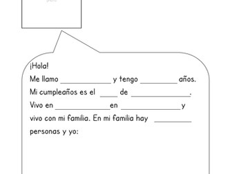 Spanish All About Me gap fill readings and writing activity
