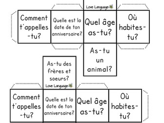 French dice - All About Me questions