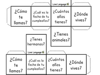 Spanish dice - All About Me questions