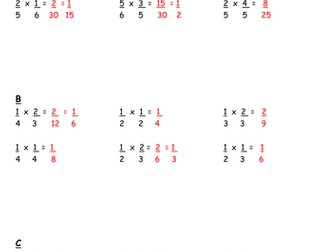 Worksheets:  Multiplying Fractions