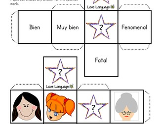 "Spanish All About Me Dice - answers to ""How are you?"""
