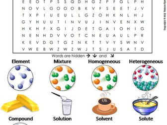 Elements Compounds and Mixtures Word Search