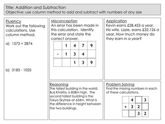 Mastery Maths - Addition and Subtraction - Using column method