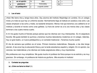 Spanish school mi instituto reading comprehension (description, facilities, subjects, opinions)