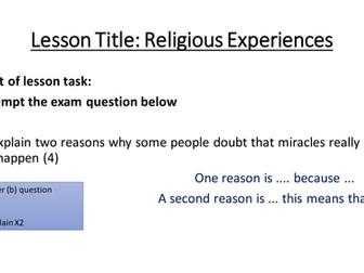 Edexcel B Beliefs in Action (9-1): Christianity Phil of Religion - Religious Experiences